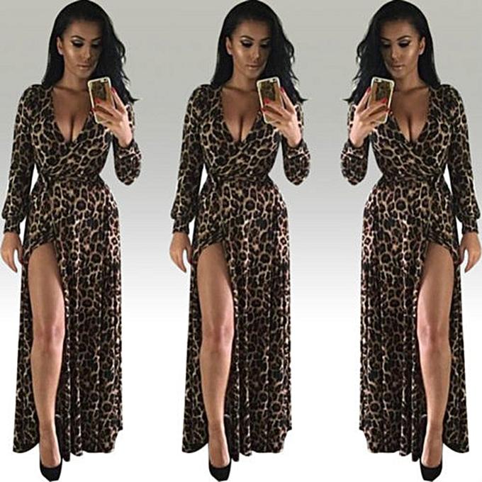 Hiamok Womens Sexy V-Neck Leopard Printed Split Hem Long Sleeve Party Wrap Maxi  Dress c5d00a908