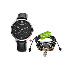 Black Chronograph Men Watch - Free Bracelet