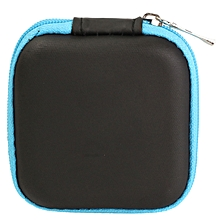Mini Colorful Square Case Bag Holder Storage Box For In-ear Headphones Headset Blue PU Material