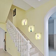 3pcs/1set Creative 3d Self-adhesive Simulation Mural Wall Paste Living Room Background Decoration Waterproof Wallpaper