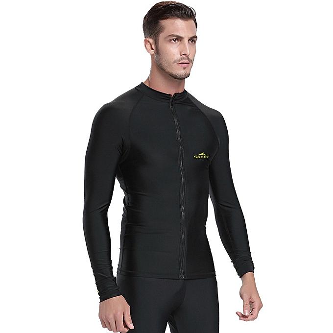 0fb182b12dd men s long sleeve swimsuit UPF 50+Rash guard split zipper snorkeling top  surf sun clothing