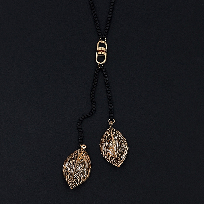 Han Ban personality Lou empty Zircon leaf long style necklace 100 take  clothes to go together 77d4dfea0db
