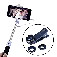 Apexel 4 in 1 Extendable Monopod Selfie Stick Fisheye Lens Wide Angle Microphone Lens 96CX3