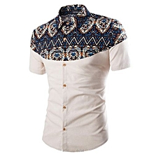 Men's Hawaiian Print Casual Button Down Short Sleeve Shirt-white