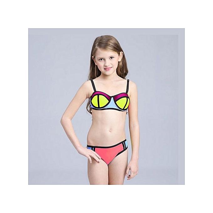 dfd057c7c24a6 ... Lovely Two-Piece Swimsuit Bikini Swim Swimming Suit Swimwear For Children  Kids Girls(Pink ...
