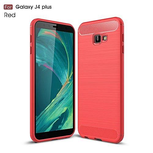 premium selection 6ffaa ecb1c Phone Case For Samsung Galaxy J4+,TPU Brushed Carbon Fiber Texture Case,  Silicone +TPU Phone Cover Case For Samsung Galaxy J4+ /J4 Plus