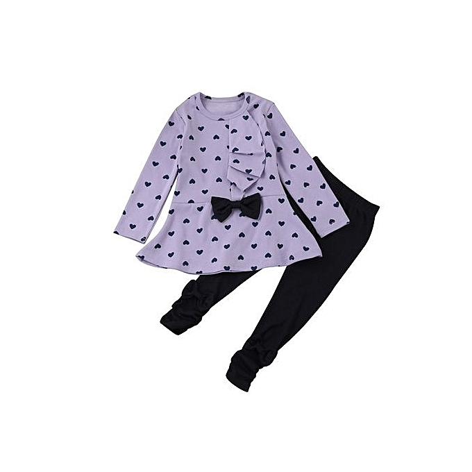 b08da2455 Toddler Infant Baby Girls Heart Print Clothes Bow Top T-shirt +Pants Outfits  Set
