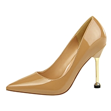 10cm High Heels OL Pumps Women Shallow Thin Heels Patent Leather Formal Shoes (Brown)