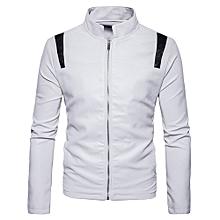 jiuhap store Men's Jacket Symmetrical Stitching Zipper Stand Collar Imitation Leather Coat-White