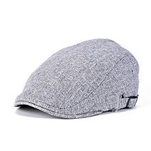 Men Linen Beret Hat Buckle Adjustable Paper Boy Newsboy Cabbie Golf Gentleman Cap