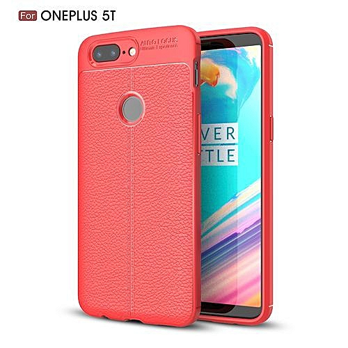 brand new 0d537 f7c40 OnePlus 5T Silicone Case, Litchi Pattern TPU Anti-knock Phone Back Cover  For OnePlus 5T - Red.