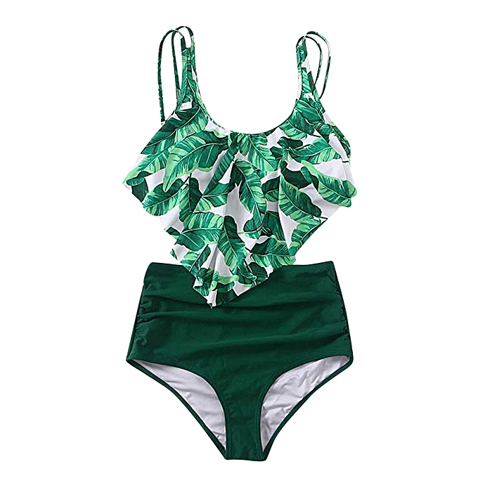 2bc91b7095941 ... jiahsyc store Women Two Piece Plus Size Sexy Backless Halter Beach  Printed Swimwear Set-Green ...