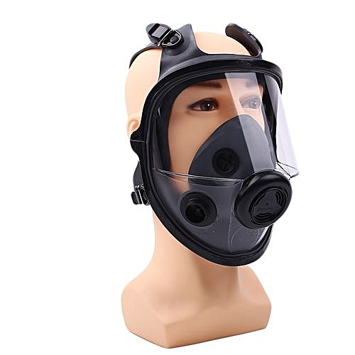 Respirator Gas Four-Point Double Filter Box Full Face Protective Breathing  Mask