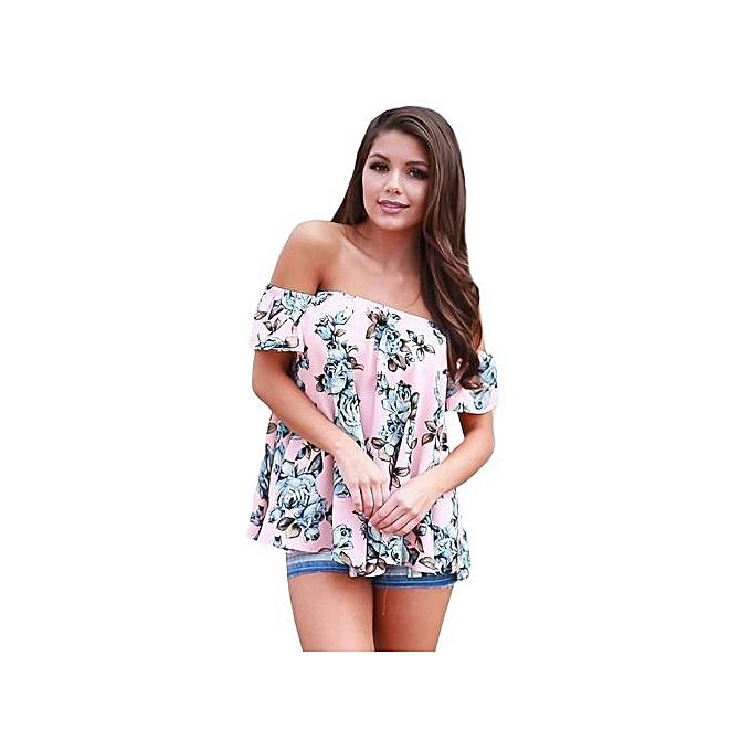 e3de0166b9634 Generic Pink Blue Floral Off Shoulder Blouse   Best Price