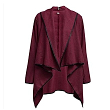 Nice (Asian Size) Women Female Long Jacket Warm Woolen Coat Blazer Zip Parka Windbreaker-Wine Red