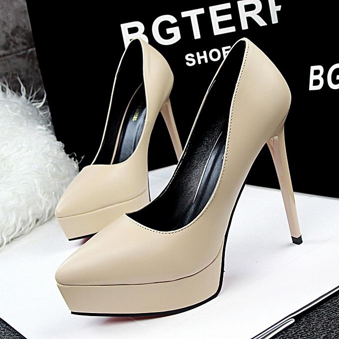 bda99d24db1 Women Fashion Simple Sexy Slim Stiletto Super High Heel Shallow Mouth  Pointed Waterproof Platform Shoes ...