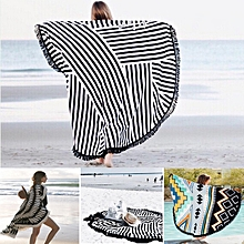 Honana WX-992 150cm Bohemian Style Thin Tassel Beach Towel Round Silk Scarf Bed Sheet Tapestry