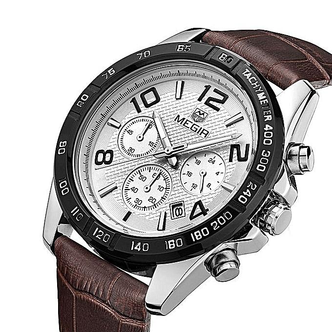 4912c7f47c1 MEGIR Watch Clock Men Relogio Masculino Watch Men Leather Chronograph  Quartz Watches Erkek Kol Saati Male