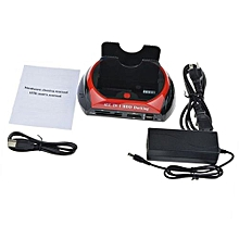 HDD Docking Station Dual USB 2.0 2.5/ 3.5 Inch IDE SATA External Box Black And Red