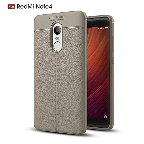 hot sale online 7173a 69eb6 PU Leather Litchi Pattern Case For Xiaomi Redmi Note 4 Soft TPU Silicone  Back Cover For Xiaomi Redmi Note4 Phone Case (Grey)