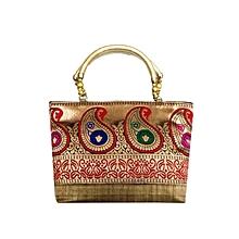 Raw Silk Handbag with Traditional Mango Border - Gold