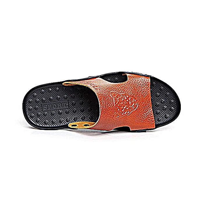 d3de71010a1 ... S-4066 Fashion Summer Men Leather Stylish Tiger Pattern Special Sole  Beach shoes Slippers Sandals