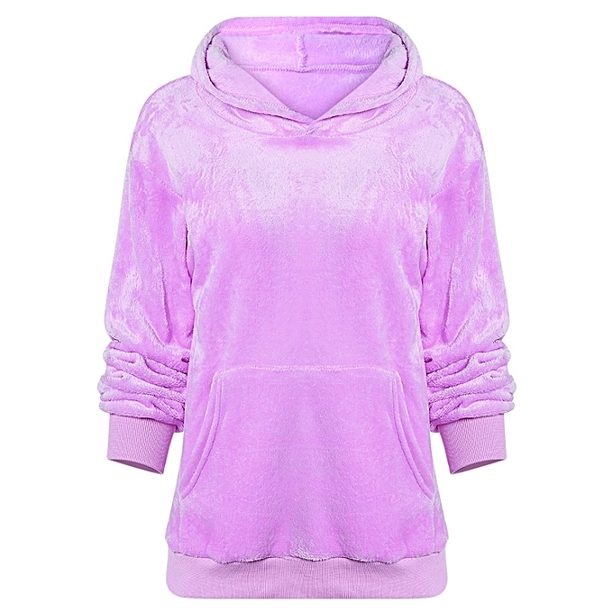 92273544a4a04 Fashion Leadsmart Hooded Long Sleeve Fleece Pocket Solid Color Sweatshirt  Women Hoodie