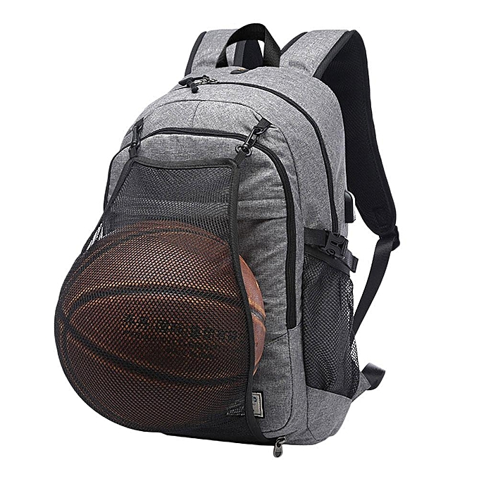 Large Capacity Waterproof Men Canvas Backpack Bag With External USB Charging And Basketball Storage Net For