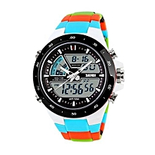 1016 Men Dual Time Zone Waterproof LED Fashion Clocks Fashion Brand Outdoor Sports Watches - Blue