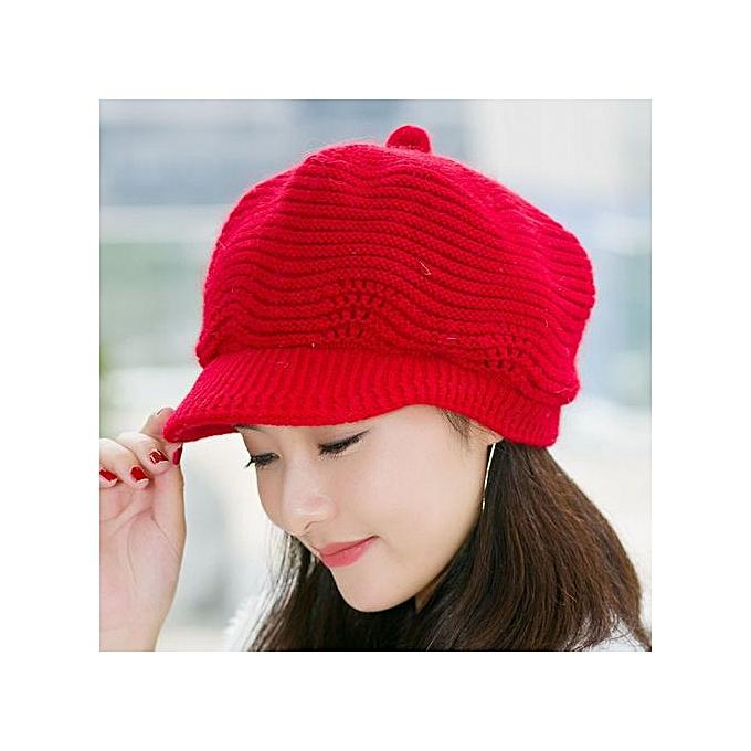 a6bd2f9c3ad Zetenis Women Ladies Beret Winter Warm Baggy Beanie Knit Crochet Hat Slouch  Ski Cap Red ...