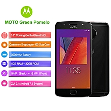 Green Pomelo XT1799 5.2-inch (4GB, 32GB ROM) 16MP+16MP, 3000mAh, Android 7.1, Dual Sim 4G LTE Smartphone - Black