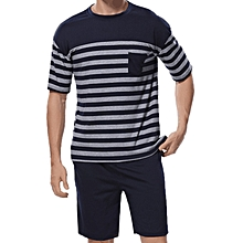 Summer Stripe Printing Lounge Comfy Casual Home Sleepwear Suits for Men