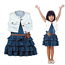 3Pcs Baby Girls Denim Sleeveless Blue Dress Waistcoat Belt Kids Summer Clothes Set
