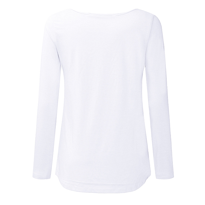 05a72c961c43 Zanzea Casual Loose Sexy Solid Color Long Sleeve Cross V Neck Plain  Irregular T-Shirt