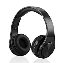 W802 Wireless Bluetooth Sports Headset Foldable Stereo TF FM AUX Headphone black