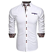 ?COOFANDY Men Long Sleeve Turn Down Neck Front Pocket Loose Tops Casual Dress Cotton Button Down Shirts ( White )