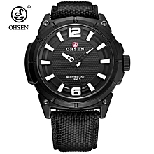 Hot Sale Fashion Brand OHSEN Shock Water Resistant Sports Watch Men Male Army Quartz Wristwatch Canvas Leather Band Relogio Saat