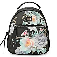 Women Floral Backpack Femal PU Shoulder Bags
