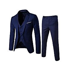 Korean men's suit 3 sets jacket business trousers groom wedding suit (coat + pants + vest).