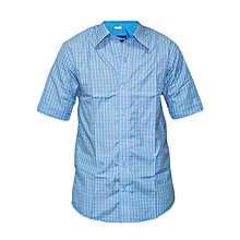 Light Blue and White checked Slim fit Collier Shirt