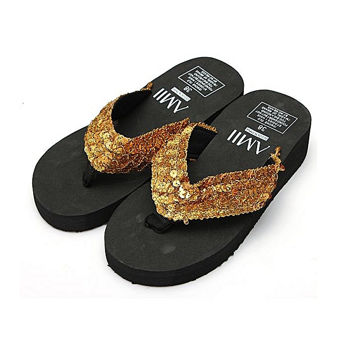 b06df7a887cecc Women Ladies Summer Thick Wedge Bottom Sandals Flip Flops Beach Shoes  Slippers-EU