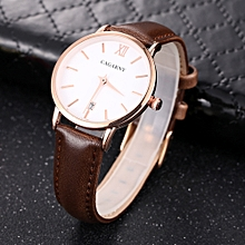 CAGARNY 6879 Fashion Quartz Wrist Watch with Leather Band (Brown+ White)