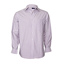 White & Purple Striped Long Sleeved Shirt