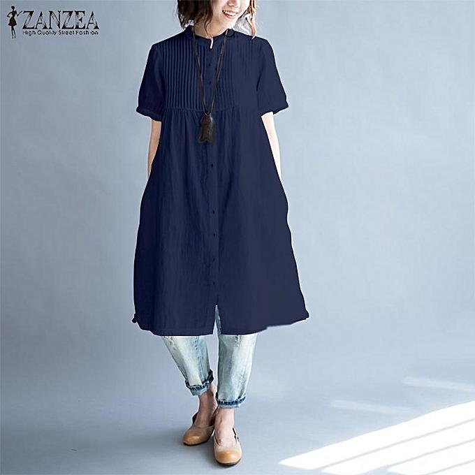 28a0d0785b8 ZANZEA Women Casual Pleated Midi Sundress Solid Loose Plus Size Shirt Dress