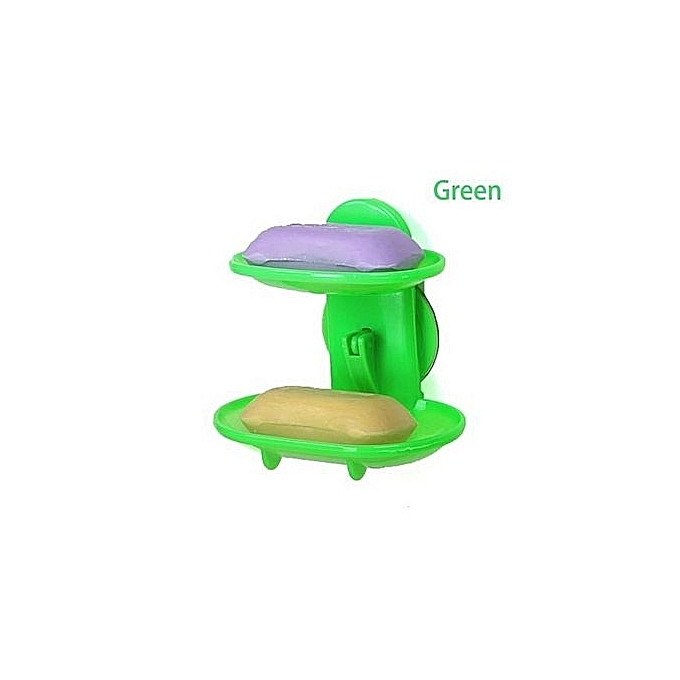 b90a16a3e98 Double Layers Bathroom Soap Holder Rack Strong Suction Cup Type Soap Basket  -Green