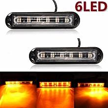 2pcs 6 LED Car Trailer Boat Emergency Light Bar Hazard Flashing Strobe Warning Lamp Yellow