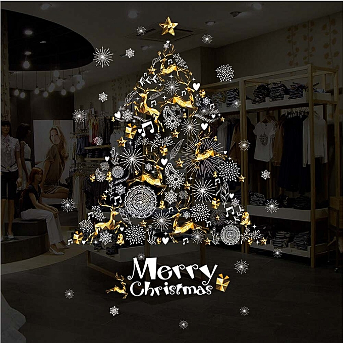 christmas window stickers glass clothing shop wall stickers golden deer snowflake tree stickers window decorations - Christmas Window Stickers