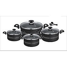 Fine king set non stick 11 pcs (glass lid) - Black
