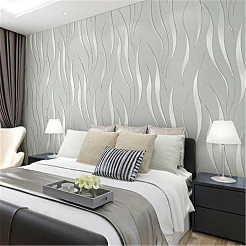 Generic 3D Modern 10m Wallpaper Non Woven Bedroom Stickers Living Room  Background Decor #Silver Gray