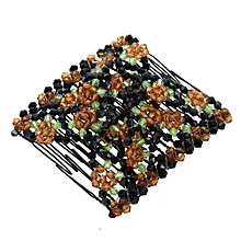 3f3f3410de0 1Pair Vintage Chic Flower Bead Stretchy Hair Combs Magic Slide Metal Comb  Clip(Coffee)